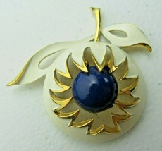 Vintage signed Trifari white gold blue apple brooch - $20.00