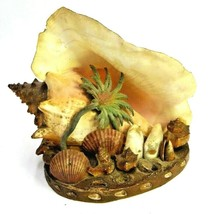 KITSCH MOUNTED CONCH SHELL TROPICAL SCENE BEACH DECOR SEASHELL SHABBY SO... - $23.74