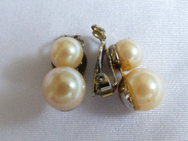 Vintage signed Japan Cream color pearl faux beads silver tone clip earrings - $17.82