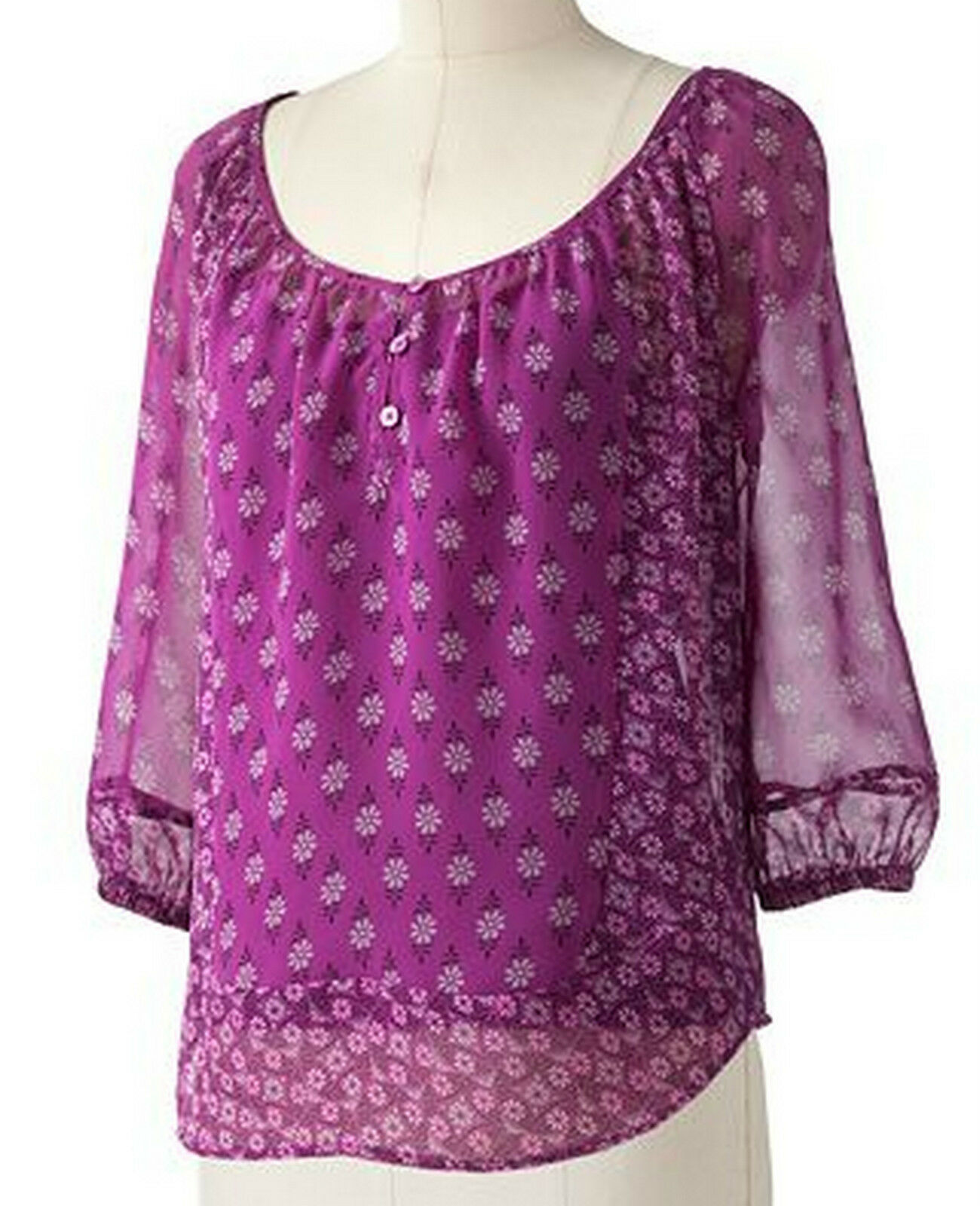 Primary image for Elle Purple Floral Mosaic Peasant Scoop Neck Blouse Cami Top Set XS 2
