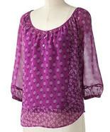 Elle Purple Floral Mosaic Peasant Scoop Neck Blouse Cami Top Set XS 2 - $24.99
