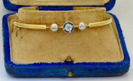 Certified Victorian 18k gold,E color Diamonds&Sapphires bracelet c1890.B... - $1,750.00