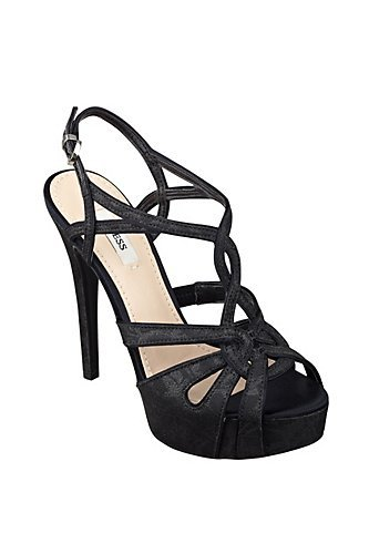 Primary image for new guess krestina crisscross platform pumps size 6 M black fabric satin