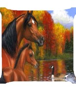 "Horses foal autumn red leaves lake duck throw pillow cushion cover 18"" 2 sides - $1.93"