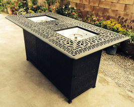 Outdoor Propane Fire Pit bar height double burner table Elisabeth aluminum patio image 11