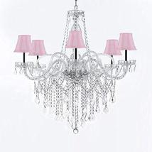 Murano Venetian Style All-Crystal Chandelier Chandeliers with Pink Shades W/Chro - $293.98