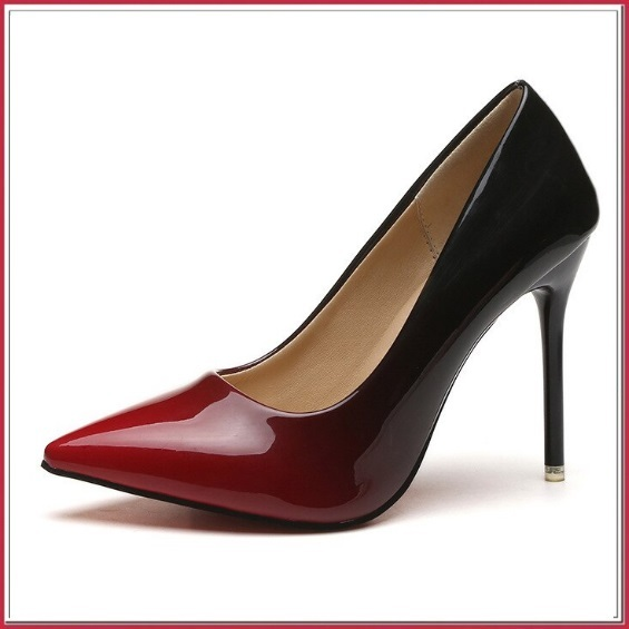 Red Gradient Black Shiny Patent Leather Classic Stiletto High Heel Pumps