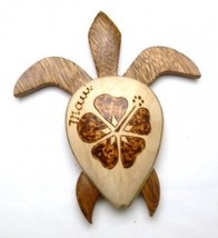 """Hawaiian Souvenir AIMANT de Réfrigérateur 4 """" Large Bois Tortue #18141 Q... - $9.91"""