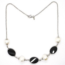Necklace Silver 925, Onyx Black Oval Faceted, Pearls, 44 cm, Chain Rolo ' image 2