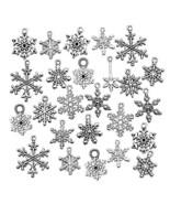 Snowflake Charm-100g (About 80-90pcs) Antique Silver Christmas Snowflake... - $25.30