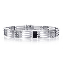 0.65 Carat Mens Diamond Onyx Bracelet 14K White Gold - $2,474.01