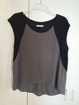 American Eagle Outfitters Ladies Sleeveless BLACK/GRAY Thin Knit TOP-M-VISCOSE - $6.99