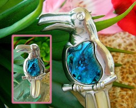 Vintage Toucan Tropical Bird Brooch Pin Abalone Jelly Belly Figural - $18.95