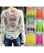 """Women""""s Semi Sheer Sleeve Embroidery Floral Lace Crochet T-Shirt Top Blo... - $20.70"""