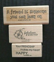 Stampin' Up Rubber Stamp Friendship Friends Fabulous Friend 3 Count Lot - $15.01
