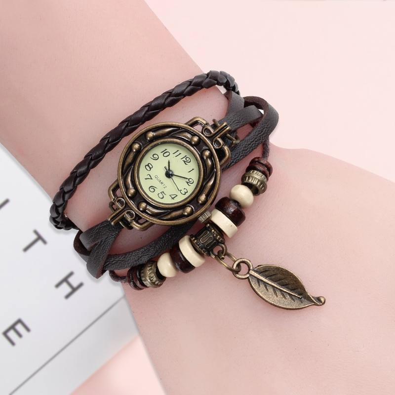 Women's vintage genuine leather dress quartz watch bracelet watch - $8.91