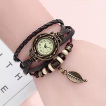 Women's vintage genuine leather dress quartz watch bracelet watch - $8.91
