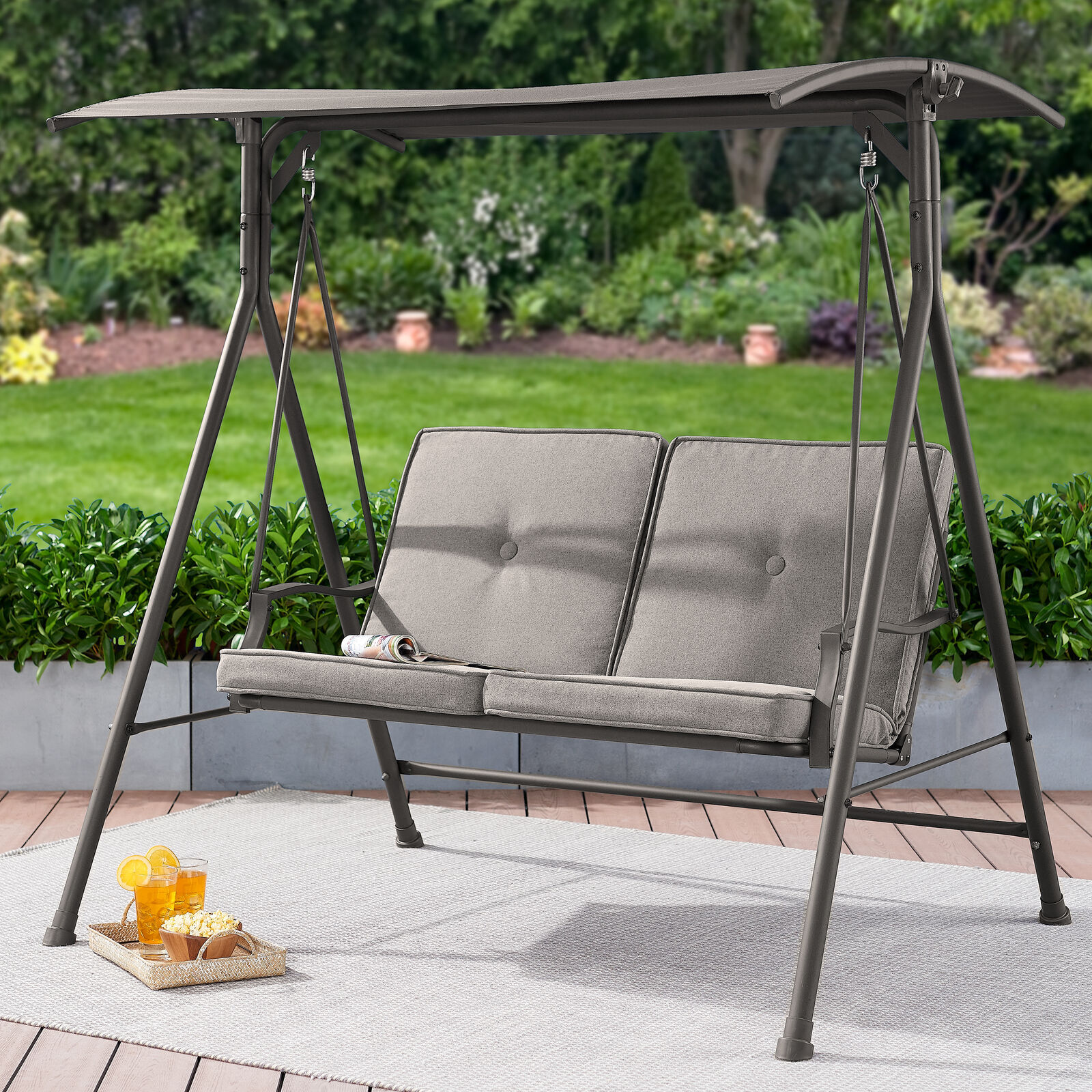 Mainstays Holten Ridge Two-Seat Canopy Patio Swing with Gray Cushions