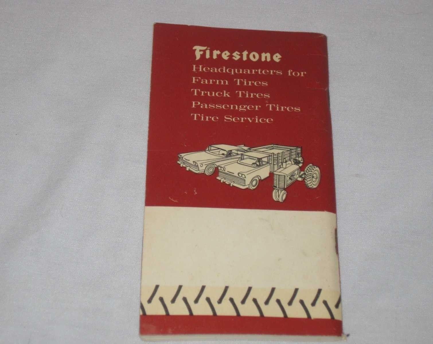"""6 1/2"""" X 3 1/2"""" 1962 Firestone Farm Tire Ad Memo Note Book Pocket Ledger Calenda"""