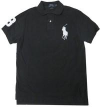 Polo Ralph Lauren Men's Custom Fit Mesh Big Pony Shirt Black WHITE #3 L ... - $69.95