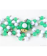 Super Mario Green Mushroom Necklace, Gamer Jewelry, Handcrafted, OOAK - $39.00