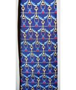 VTG BURBERRYS' TIE Navy Blue Red Gold Bridle Chain Silk Men's Necktie - $74.25