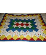 Handcrafted quilt sports ball lap baby 33 x 44 red yellow blue green fleece - $40.00