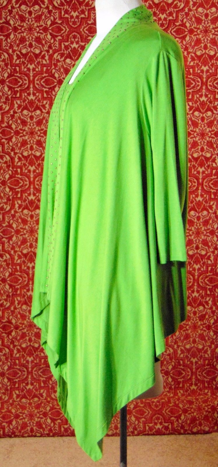 ETOILE green 2 piece stretch rayon tank blouse & sweater jacket M (T47-02I8G) image 5