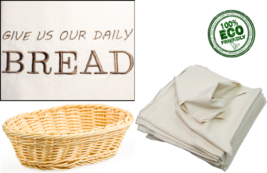Give Us Our Daily Bread Embroidered Unbleached Flour Sack Kitchen Towel - $13.99