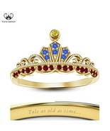 Pure 925 Sterling Silver 14k Yellow Gold Plated Disney Princess Belle Cr... - £40.44 GBP