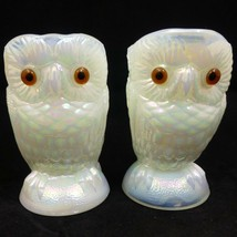 "NOS Vintage 3.5"" Summit White Iridescent Carnival Milk Glass Owl Sugar C... - $29.97"