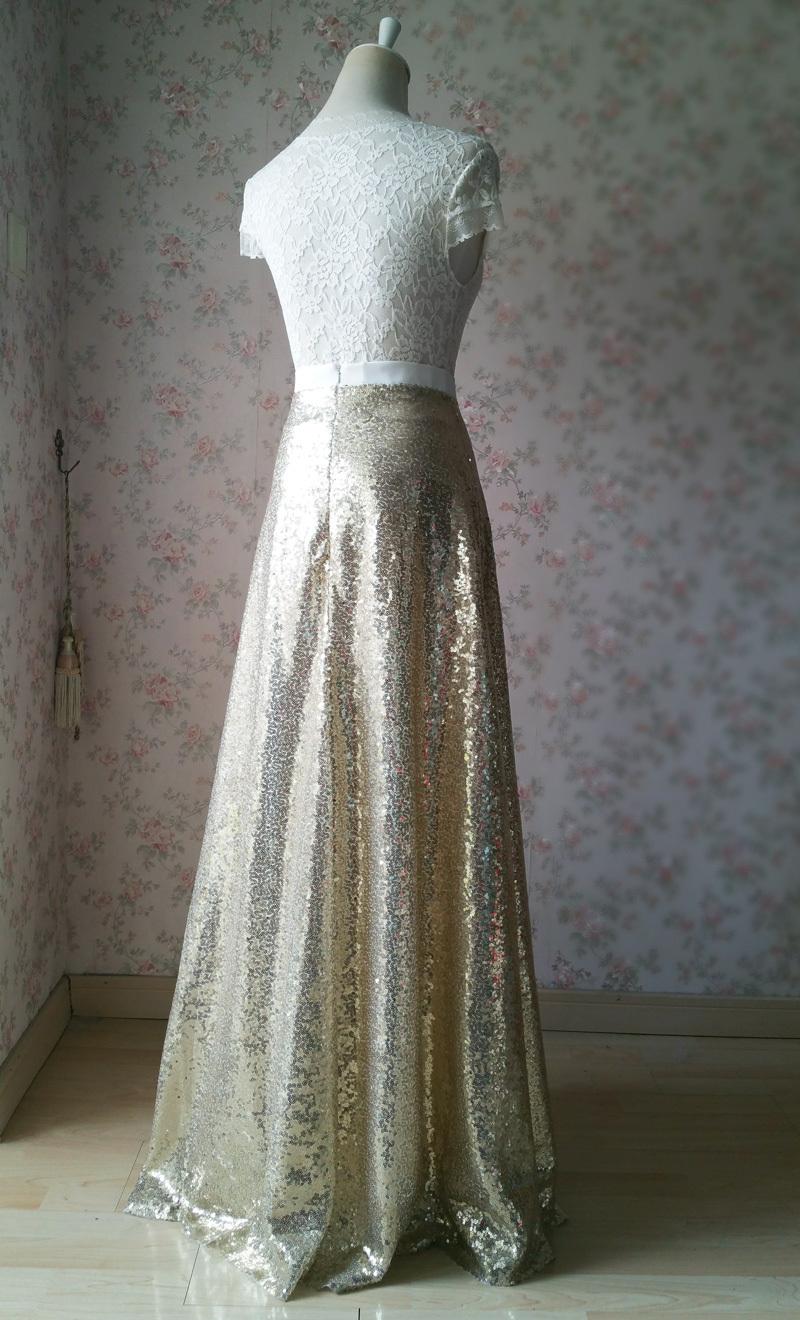 BLACK GOLDEN Sequined Maxi Skirt High Waist Full Sequined Maxi Skirt Prom Skirts image 5