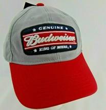 Budweiser Men's Vintage Distressed Genuine King of Beers Snapback Hat Cap Gray image 1