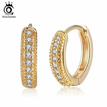 OrsaJewels® Gold-color Female Hoop Earrings Paved AAA Clear Cubic Zircon... - $6.17