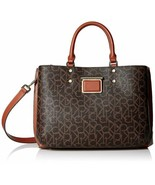 Calvin Klein Dani Signature Satchel (Brown, One Size) - $153.45