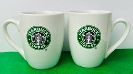 Starbucks Siren Green White Set Of 2 10 Ounces Coffee Mugs Cups - $13.10
