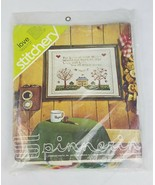 Vintage Spinnerin Yarn stitchery Love house picket fence embroidery kit ... - $20.12