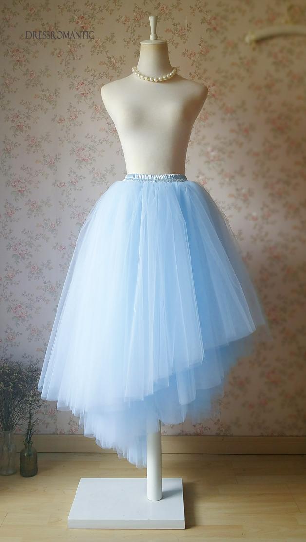 SKY BLUE Full Maxi Tulle Skirt Blue Ballerina Skirts Long Bridesmaid Skirts NWT