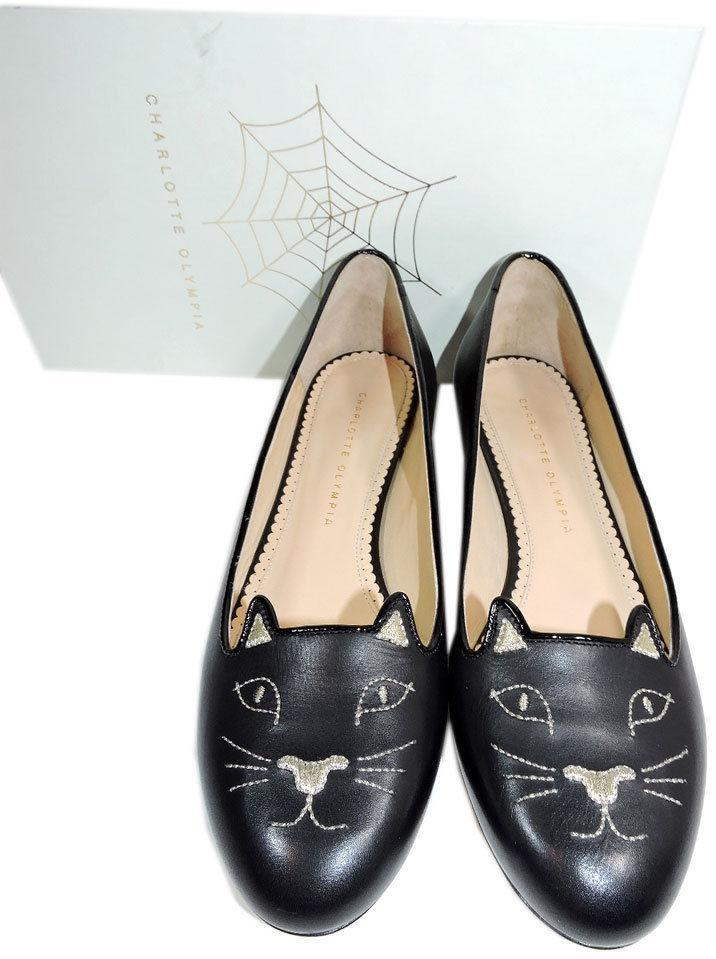 Charlotte Olympia Blck Leather Kitty Smoking Slipper Flats Shoe Ballets 40-9 Cat