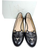 Charlotte Olympia Blck Leather Kitty Smoking Slipper Flats Shoe Ballets ... - $339.91