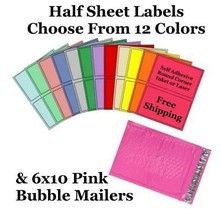 6x10 ( Pink ) Poly Bubble Mailers + Half Sheet Self Adhesive Shipping La... - $2.99+