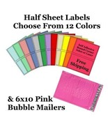 6x10 ( Pink ) Poly Bubble Mailers + Half Sheet Self Adhesive Shipping La... - $2.99+