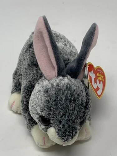 "Ty Beanie Babies Plush SMOKEY Grey Bunny Rabbit 6 1/2"" Soft Stuffed Animal Toy"