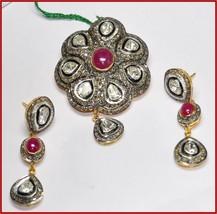 925 Silver 7.97ct Rose Cut Diamond Antique Victorian Vintage Earring Pendant Set - $924.29