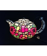 Vintage Tiffany Style Lamp Tea Pot Kettle Figural Stained Glass Table Light - $39.59