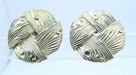 VTG LISNER Signed Gold Tone Wood Design Screw Back Earrings - $9.90