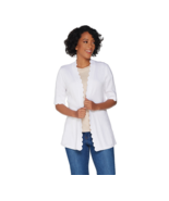 Isaac Mizrahi Live! Open Front Elbow Sleeve Scallop Cardigan, Bright Whi... - $29.69