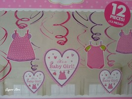 Baby Shower 12 Dangling Swirl Decorations It's a Girl Party Supplies - $7.69
