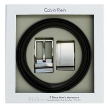 Calvin Klein Ck Men's Reversible Leather Buckle Belt 3 Piece Gift Box Set 74384