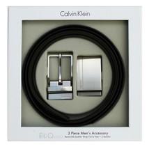 Calvin Klein Ck Men's Reversible Leather Buckle Belt 3 Piece Gift Box Set 74384 image 1